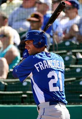 MESA, AZ - MARCH 09:  Jeff Francoeur #21 of the Kansas City Royals at bat against the Chicago Cubs during the spring training baseball game at HoHoKam Stadium on March 9, 2011 in Mesa, Arizona.  (Photo by Kevork Djansezian/Getty Images)