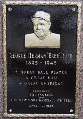 NEW YORK - MAY 02:  The plaque of Babe Ruth is seen in Monument Park at Yankee Stadium prior to game between the New York Yankees and the Chicago White Sox on May 2, 2010 in the Bronx borough of New York City. The Yankees defeated the White Sox 12-3.  (Ph