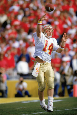 TEMPE - JANUARY 1: Quarterback Danny McManus #14 of Florida State University Seminoles throws a pass during the 1988 Fiesta Bowl against University of Nebraska Cornhuskers on January 1, 1988 in Tempe, Arizona. FSU won 31-28. ( Photo by: Mike Powell/Getty