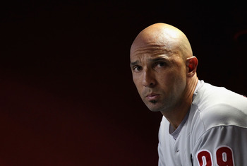 PHOENIX, AZ - APRIL 25:  Raul Ibanez #29 of the Philadelphia Phillies sits in the dugout during the Major League Baseball game against the Arizona Diamondbacks at Chase Field on April 25, 2011 in Phoenix, Arizona.  (Photo by Christian Petersen/Getty Image