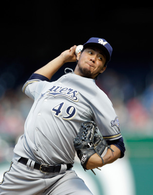 WASHINGTON, DC - APRIL 17: Pitcher Yovani Gallardo #49 of the Milwaukee Brewers delivers to a Washington Nationals batter at Nationals Park on April 17, 2011 in Washington, DC.  (Photo by Rob Carr/Getty Images)