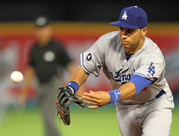 MIAMI GARDENS, FL - APRIL 26:  James Loney #7 of the Los Angeles Dodgers tosses the ball to first during a game against the Florida Marlins at Sun Life Stadium on April 26, 2011 in Miami Gardens, Florida.  (Photo by Mike Ehrmann/Getty Images)
