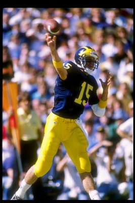 30 Sep 1989:  Quarterback Elvis Grbac of the Michigan Wolverines prepares to pass the ball during a game against the Maryland Terrapins.  Michigan won the game 41-21. Mandatory Credit: Rick Stewart  /Allsport