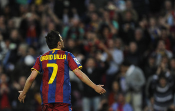 BARCELONA, SPAIN - APRIL 23: David Villa of Barcelona celebrates after scoring his first team's side goal during the La Liga match between Barcelona and CA Osasuna at Camp Nou Stadium on April 23, 2011 in Barcelona, Spain.  (Photo by David Ramos/Getty Ima