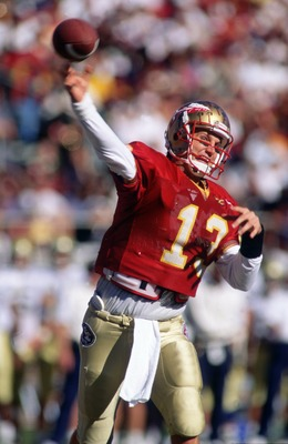 21 OCT 1995:  FLORIDA STATE QUARTERBACK DANNY KANELL RELEASES A PASS DURING THE SEMINOLES 42-10 VICTORY OVER THE GEORGIA TECH YELLOWJACKETS AT DOAK CAMPBELL STADIUM IN TALLAHASSEE, FLORIDA.   Mandatory Credit: Andy Lyons/ALLSPORT