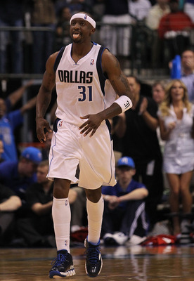 DALLAS, TX - APRIL 25:  Guard Jason Terry #31 of the Dallas Mavericks reacts after a three-point shot against the Portland Trail Blazers in Game Five of the Western Conference Quarterfinals during the 2011 NBA Playoffs on April 25, 2011 at American Airlin