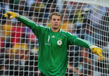 BLOEMFONTEIN, SOUTH AFRICA - JUNE 27: Manuel Neuer of Germany in action during the 2010 FIFA World Cup South Africa Round of Sixteen match between Germany and England at Free State Stadium on June 27, 2010 in Bloemfontein, South Africa.  (Photo by Clive M