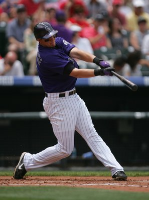 DENVER - MAY 28:  Troy Tulowitzki #2 of the Colorado Rockies bats against the St. Louis Cardinals at Coors Field on May 28, 2007 in Denver, Colorado. The Rockies won 6-2. (Photo by Doug Pensinger/Getty Images)