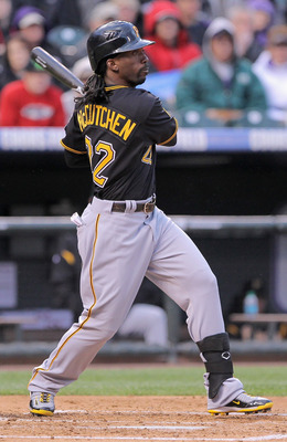 DENVER, CO - APRIL 29:  Andrew McCutchen #22 of the Pittsburgh Pirates watches his solo homerun off of starting pitcher Jhoulys Chacin #45 of the Colorado Rockies in the third inning at Coors Field on April 29, 2011 in Denver, Colorado.  (Photo by Doug Pe
