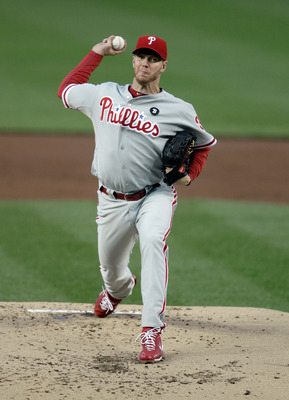 WASHINGTON, DC - APRIL 13:  Starting pitcher Roy Halladay #34 of the Philadelphia Phillies delivers to a Washington Nationals batter during the second inning at Nationals Park on April 13, 2011 in Washington, DC.  (Photo by Rob Carr/Getty Images)
