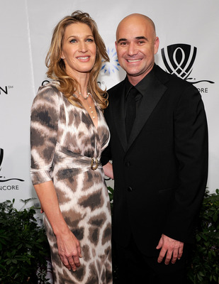 LAS VEGAS - OCTOBER 09:  Former tennis players Steffi Graf (L) and Andre Agassi arrive at the Andre Agassi Foundation for Education's 15th Grand Slam for Children benefit concert at the Wynn Las Vegas October 9, 2010 in Las Vegas, Nevada. The event raises
