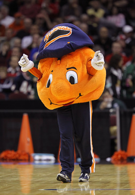 CLEVELAND, OH - MARCH 20: The Syracuse Orange mascot walks on the court during the game against the Marquette Golden Eagles during the third of the 2011 NCAA men's basketball tournament at Quicken Loans Arena on March 20, 2011 in Cleveland, Ohio.  (Photo