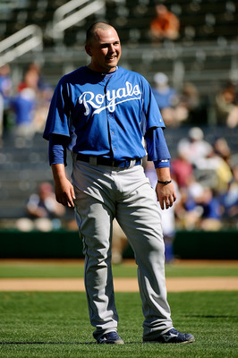MESA, AZ - MARCH 09:  Billy Butler #16 of the Kansas City Royals on the field before playing against the Chicago Cubs during the spring training baseball game at HoHoKam Stadium on March 9, 2011 in Mesa, Arizona.  (Photo by Kevork Djansezian/Getty Images)