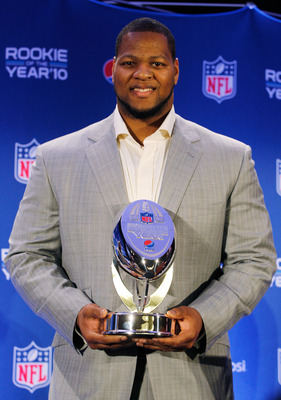 DALLAS, TX - FEBRUARY 03:  Ndamukong Suh #90 of the Detroit Lions poses during a press conference where he accepted Pepsi's 2010 NFL Rookie of the Year Award at the Super Bowl XLV media center on February 3, 2011 in Dallas, Texas. The Green Bay Packers wi