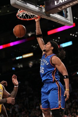 LOS ANGELES, CA - APRIL 27:  Etan Thomas #36 of the Oklahoma City Thunder dunks the ball while taking on the Los Angeles Lakers during Game Five of the Western Conference Quarterfinals of the 2010 NBA Playoffs at Staples Center on April 27, 2010 in Los An