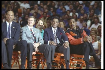 INGLEWOOD, CA - FEBRUARY 16:  Kareem Abdul-Jabbar, Jerry West, Elgin Baylor and Wilt Chamberlain sit on the court during Earvin 'Magic' Johnson's retirement ceremony from the Los Angeles Lakers on February 16, 1992 at the Great Western Forum in Inglewood,