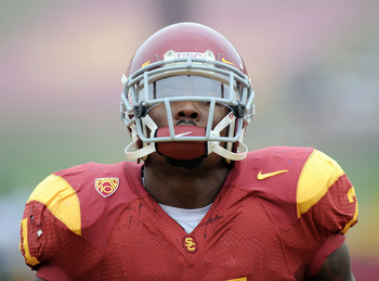 LOS ANGELES, CA - OCTOBER 16:  Portrait of Allen Bradford #21 of the USC Trojans during warm up before the game against the California Golden Bears at Los Angeles Memorial Coliseum on October 16, 2010 in Los Angeles, California.  (Photo by Harry How/Getty