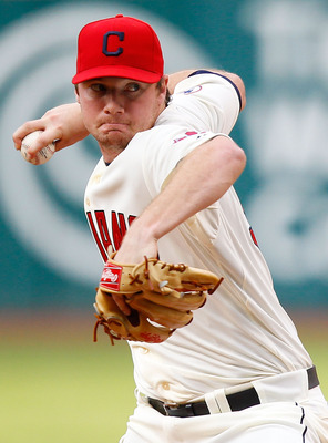 CLEVELAND - APRIL 30:  Alex White #32 of the Cleveland Indians pitches against the Detroit Tigers during the game on April 30, 2011 at Progressive Field in Cleveland, Ohio.  (Photo by Jared Wickerham/Getty Images)