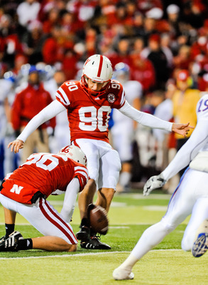 LINCOLN, NE - NOVEMBER 13: Alex Henery #90 of the Nebraska Cornhuskers kicks an extra point against the Kansas Jayhawks during their game at Memorial Stadium on November 13, 2010 in Lincoln, Nebraska. Nebraska Defeated Kansas 20-3. (Photo by Eric Francis/