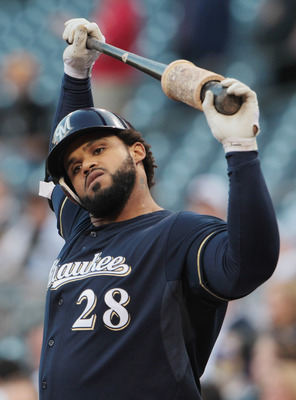 PITTSBURGH, PA - APRIL 14:  Prince Fielder #28 of the Milwaukee Brewers waits in the ondeck circle during their game against the Pittsburgh Pirates at PNC Park on April 14, 2011 in Pittsburgh, Pennsylvania.  (Photo by Scott Halleran/Getty Images)
