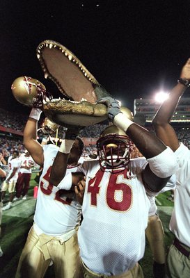 20 Nov 1999:  Michael Hamilton #46 of the Florida State Seminoles celebrates after the game against the Florida Gators at the Ben HillGriffin Stadium in Gainsville, Florida. The Seminoles defeated the Gators 23-30. Mandatory Credit: Andy Lyons  /Allsport
