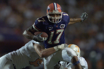 GAINESVILLE, FL - DECEMBER 01:  Wide Receiver Reche Caldwell #17 of the University of Florida Gators runs with the ball against the University of Tennessee Volunteers during the SEC game at Florida Field in Gainesville, Florida on December 01, 2001.  Tenn