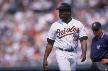 17 May 1998:  Coach Eddie Murray of the Baltimore Orioles in action during a game against the Tampa Bay Devil Rays at Camden Yards in Baltimore, Maryland.  The Devil Rays won the game, 3-0. Mandatory Credit: Doug Pensinger  /Allsport