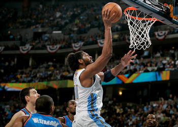 DENVER, CO - APRIL 23:  Nene #31 of the Denver Nuggets scores against the Oklahoma City Thunder in Game Three of the Western Conference Quarterfinals in the 2011 NBA Playoffs at Pepsi Center on April 23, 2011 in Denver, Colorado. NOTE TO USER: User expres