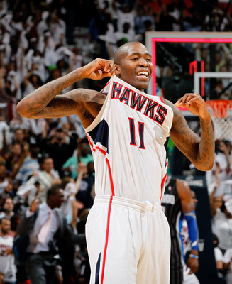 ATLANTA, GA - APRIL 28:  Jamal Crawford #11 of the Atlanta Hawks reacts after their 84-81 win over the Orlando Magic during Game Six of the Eastern Conference Quarterfinals in the 2011 NBA Playoffs at Philips Arena on April 28, 2011 in Atlanta, Georgia.