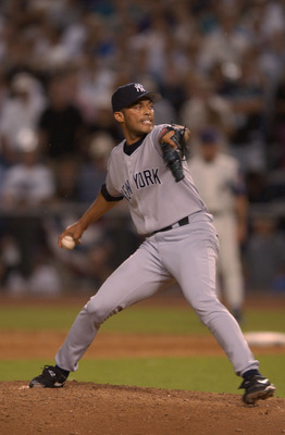 4 Nov 2001:  Mariano Rivera #42 of the New York Yankees pitches against the Arizona Diamondbacks during game seven of the Major League Baseball World Series at Bank One Ballpark in Phoenix, Arizona. The Diamondbacks won 3-2 to capture the World Series tit