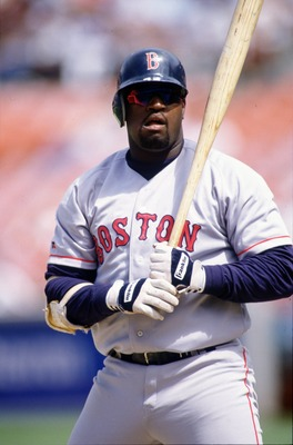 31 May 1995: First Baseman Mo Vaughn of the Boston Red Sox looks for his signs from the third base coach during the Red Sox 6-5 win over the Oakland Athletics at Oakland Alameda County Coliseum in Oakland, California.