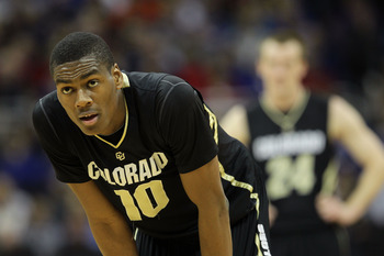KANSAS CITY, MO - MARCH 10:  Alec Burks #10 of the Colorado Buffaloes stands on the court against the Kansas State Wildcats during their quarterfinal game in the 2011 Phillips 66 Big 12 Men's Basketball Tournament at Sprint Center on March 10, 2011 in Kan