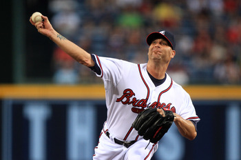 ATLANTA, GA - APRIL 08:  Tim Hudson #15 of the Atlanta Braves during their opening day game against the Philadephia Phillies at Turner Field on April 8, 2011 in Atlanta, Georgia.  (Photo by Streeter Lecka/Getty Images)