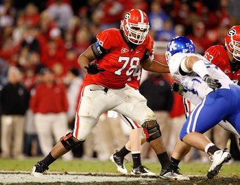 ATHENS, GA - NOVEMBER 21:  Josh Davis #78 of the Georgia Bulldogs against the Kentucky Wildcats at Sanford Stadium on November 21, 2009 in Athens, Georgia.  (Photo by Kevin C. Cox/Getty Images)