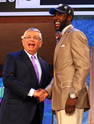 NEW YORK - JUNE 25:  NBA Commissioner David Stern poses for a photograph with the three overall draft pick by the Oklahoma City Thunder,  James Harden during the 2009 NBA Draft at the Wamu Theatre at Madison Square Garden June 25, 2009 in New York City. N