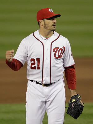 WASHINGTON, DC - APRIL 29:  Starting pitcher Jason Marquis #21 of the Washington Nationals celebrates the final out after defeating the San Francisco Giants 3-0 at Nationals Park on April 29, 2011 in Washington, DC.  (Photo by Rob Carr/Getty Images)