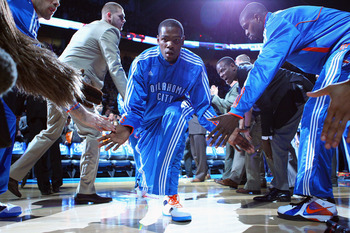OKLAHOMA CITY, OK - APRIL 27: Kevin Durant #35 of the Oklahoma City Thunder is introduced prior to playing against the Denver Nuggets in Game Five of the Western Conference Quarterfinals in the 2011 NBA Playoffs on April 27, 2011 at the Ford Center in Okl