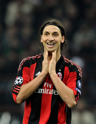 MILAN, ITALY - FEBRUARY 15:  Zlatan Ibrahimovic of AC Milan during the UEFA Champions League round of 16 first leg match between AC Milan and Tottenham Hotspur at Stadio Giuseppe Meazza on February 15, 2011 in Milan, Italy.  (Photo by Claudio Villa/Getty