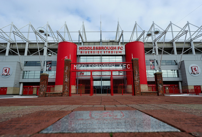 MIDDLESBROUGH, ENGLAND - MARCH 04:  A general view of the Riverside Stadium, home of Middlesbrough Football Club on March 4, 2011 in Middlesbrough, England.  (Photo by Jamie McDonald/Getty Images)