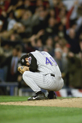1 Nov 2001:  Byung-Hyun Kim #49 relief pitcher for Arizona Diamondbacks reacts to giving up New York Yankees third baseman  Scott Brosius'' game tying two run home run with two outs in the bottom of the ninth in game five of the 2001 World Series versus t