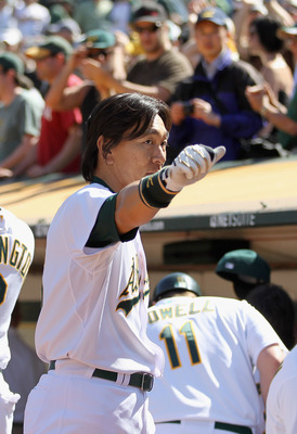 OAKLAND, CA - MAY 02:  Hideki Matsui #55 of the Oakland Athletics waves to the crowd after he hit a walk off home run to win the game in the tenth inning against the Texas Rangers at Oakland-Alameda County Coliseum on May 2, 2011 in Oakland, California.