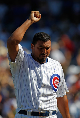CHICAGO - JUNE 20: Carlos Zambrano #38 of the Chicago Cubs celebrates getting out of an inning-ending jam against the Los Angeles Angels of Anaheim at Wrigley Field on June 20, 2010 in Chicago, Illinois. The Cubs defeated the Angels 12-1. (Photo by Jonath