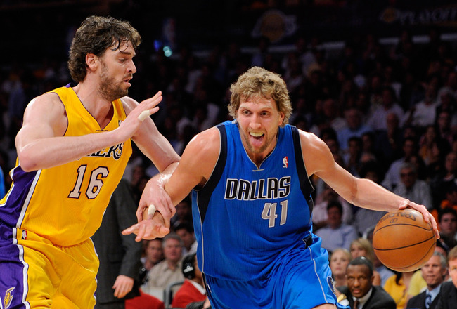 LOS ANGELES, CA - MAY 04:  Dirk Nowitzki #41 of the Dallas Mavericks drives on Pau Gasol #16 of the Los Angeles Lakers in the first quarter in Game Two of the Western Conference Semifinals in the 2011 NBA Playoffs at Staples Center on May 4, 2011 in Los A