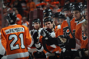 PHILADELPHIA, PA - APRIL 30: James van Riemsdyk #21 of the Philadelphia Flyers returns to the bench following his second period goal against the Boston Bruins in Game One of the Eastern Conference Semifinals during the 2011 NHL Stanley Cup Playoffs at the