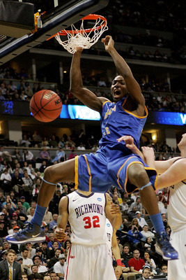 DENVER, CO - MARCH 19:  Kenneth Faried #35 of the Morehead State Eagles dunks the ball against the Richmond Spiders during the third round of the 2011 NCAA men's basketball tournament at Pepsi Center on March 19, 2011 in Denver, Colorado.  (Photo by Justi
