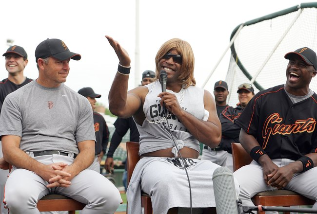 SCOTTSDALE, AZ - MARCH 1:  Barry Bonds (C) pretends to be American Idol judge Paula Abdul for the rookies skits of Giants Idol during San Francisco Giants Spring Training on March 1, 2006 in Scottsdale, Arizona.  (Photo by Tom Hauck/Getty Images)
