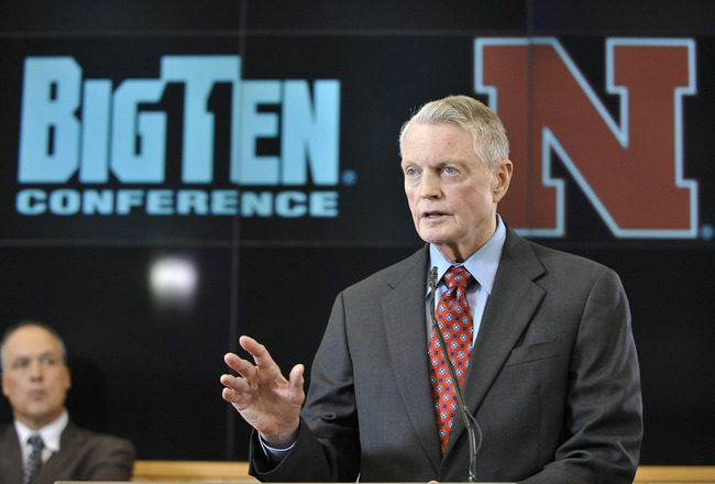 LINCOLN, NE JUNE 11: University of Nebraska Athletic Director Tom Osbourne informs members of the media that the University of Nebraska has been accepted into the Big Ten conference in Lincoln, Neb. June 11th, 2010.  The university will begin integration