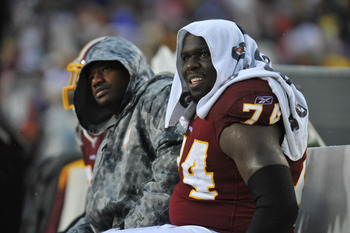 LANDOVER, MD - DECEMBER 12:  Stephon Heyer #74 of the Washington Redskins watches the game from the bench during the game against the Tampa Bay Buccaneers  at FedExField on December 12, 2010 in Landover, Maryland. The Buccaneers defeated the Redskins 17-1
