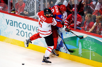 Weber crunching Ovechkin during the 2010 Olympics