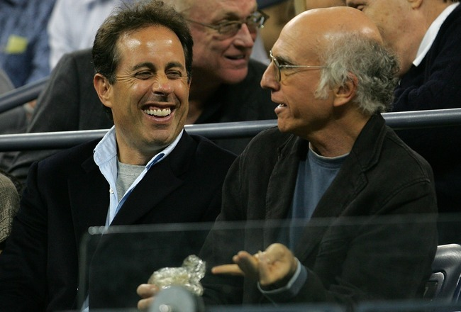 NEW YORK - SEPTEMBER 05:  Actor/comedians Larry David (R) and Jerry Seinfeld attend the match between Venus Williams and Jelena Jankovic of Serbia on day ten of the 2007 U.S. Open at the Billie Jean King National Tennis Center on September 5, 2007 in the